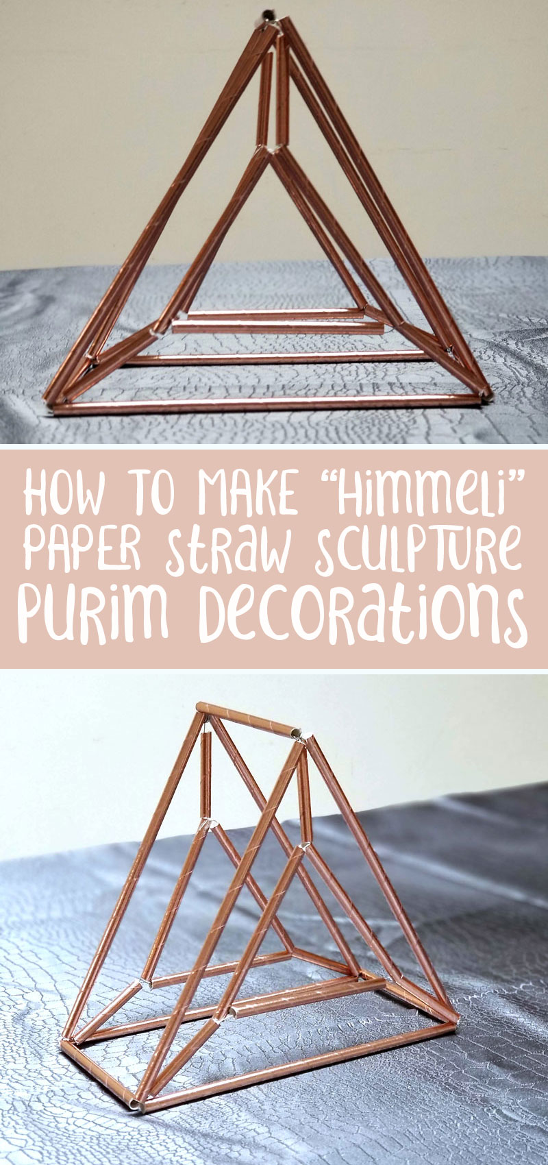Looking for a cool Purim craft for adults? These himmeli hamantaschen crafts made from paper straws are way cool and are presented in a gorgeous Purim tablescape.