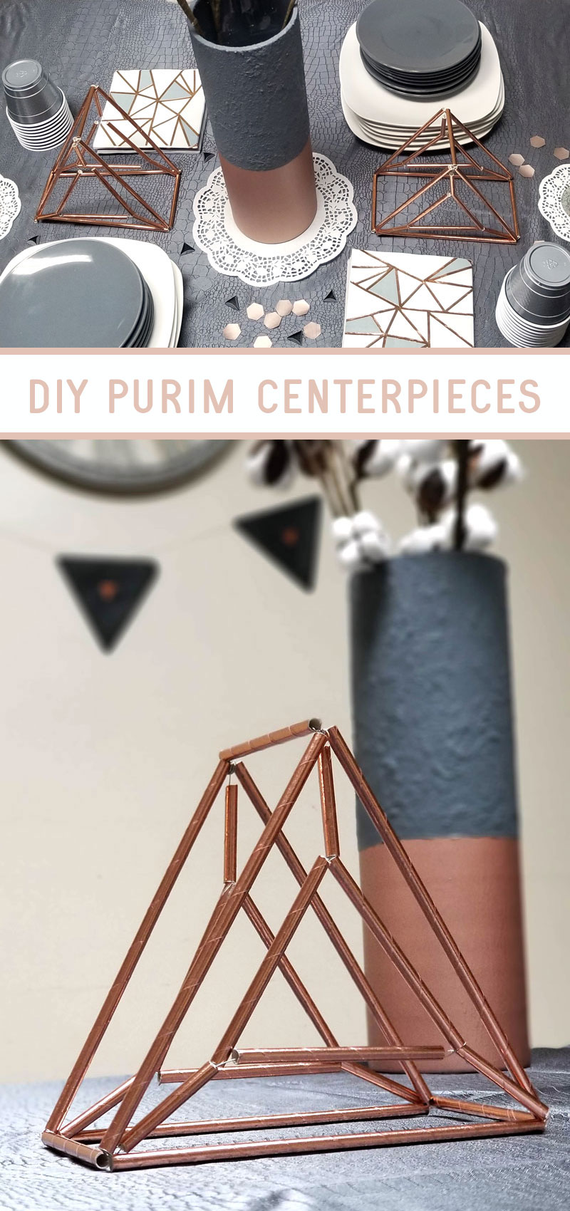 Gorgeous DIY Purim centerpieces make perfect Purim table decorations for your holiday feast! These Himmeli-inspired Hamanataschen sculptures are made from inexpensive paper straws.