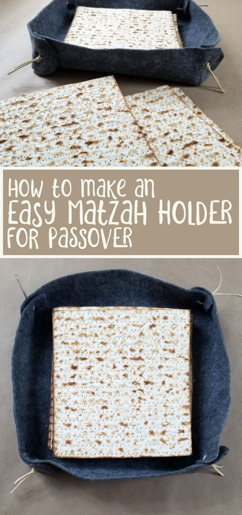 Make your own matzah plate - a cool Pesach craft for anyone! this DIY Passover craft is a felt matzah tray for your seder that anyone can make